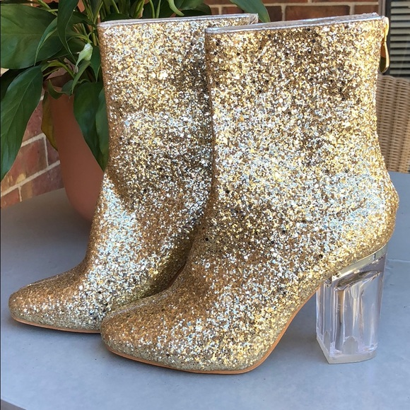 Gold glitter lucite heels boots